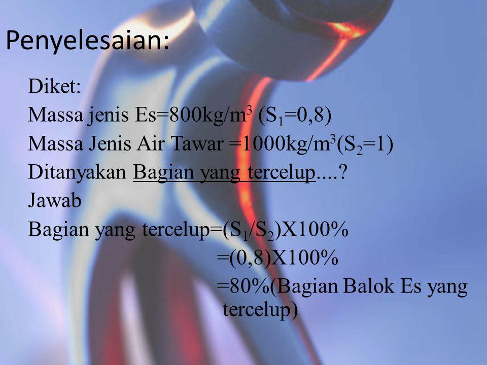 Penyelesaian: Diket: Massa jenis Es=800kg/m3 (S1=0,8)