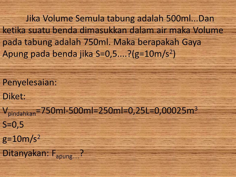 Jika Volume Semula tabung adalah 500ml