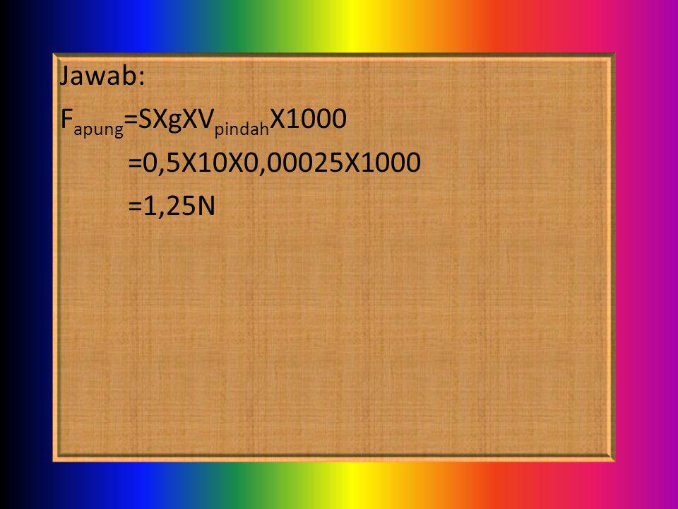 Jawab: Fapung=SXgXVpindahX1000 =0,5X10X0,00025X1000 =1,25N