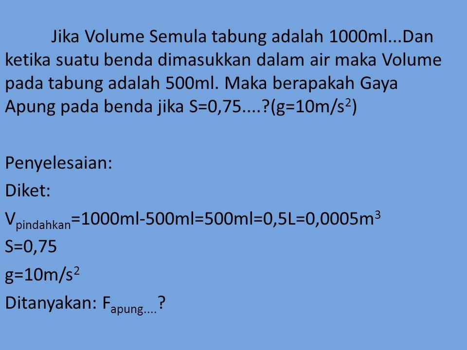 Jika Volume Semula tabung adalah 1000ml