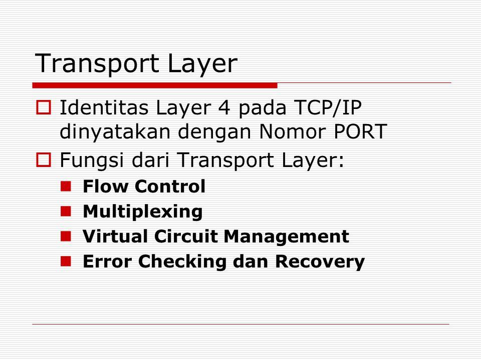 Transport Layer Identitas Layer 4 pada TCP/IP dinyatakan dengan Nomor PORT. Fungsi dari Transport Layer: