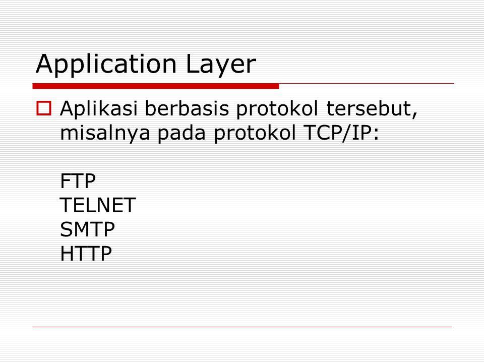 Application Layer Aplikasi berbasis protokol tersebut, misalnya pada protokol TCP/IP: FTP TELNET SMTP HTTP.