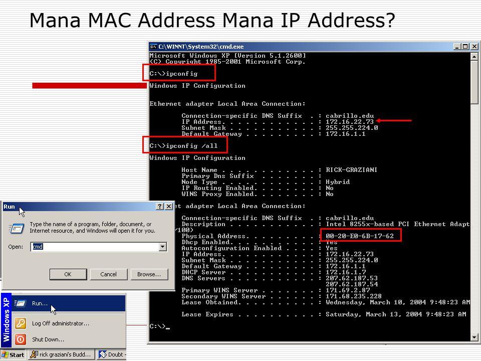Mana MAC Address Mana IP Address