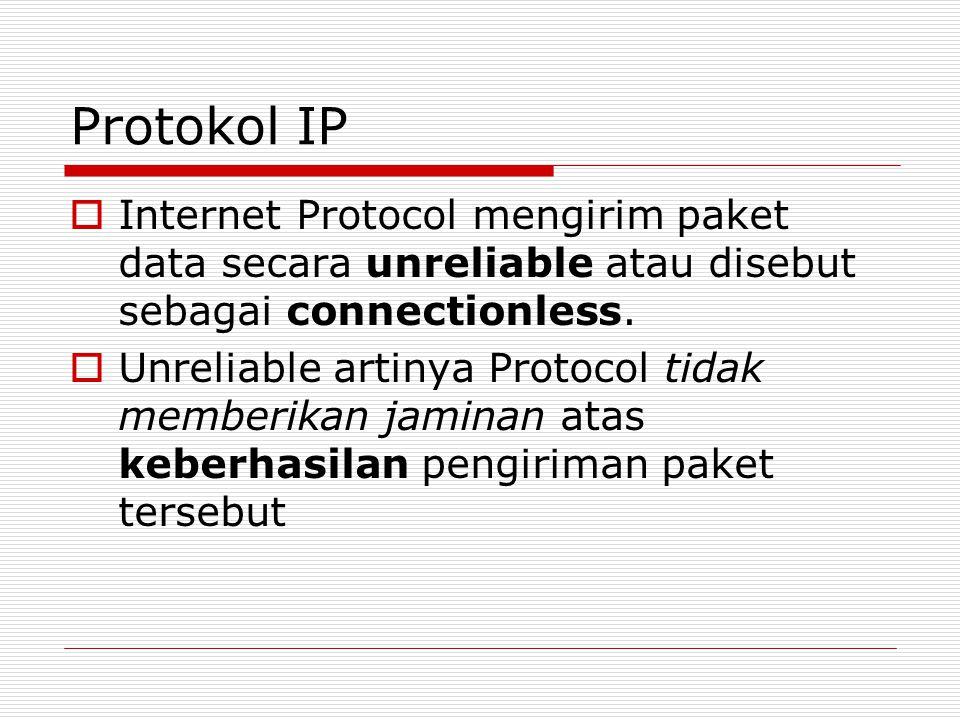 Protokol IP Internet Protocol mengirim paket data secara unreliable atau disebut sebagai connectionless.