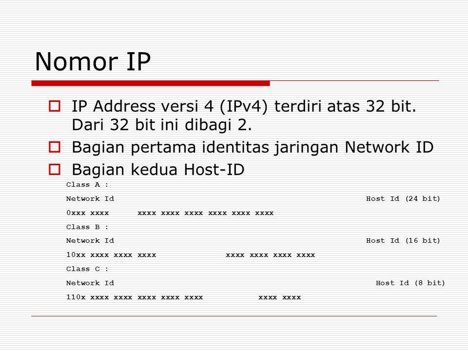 Nomor IP IP Address versi 4 (IPv4) terdiri atas 32 bit. Dari 32 bit ini dibagi 2. Bagian pertama identitas jaringan Network ID.