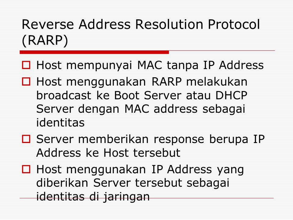 Reverse Address Resolution Protocol (RARP)