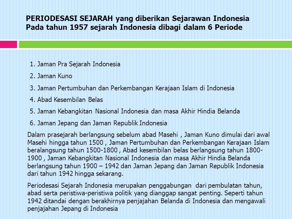 PERIODESASI SEJARAH yang diberikan Sejarawan Indonesia