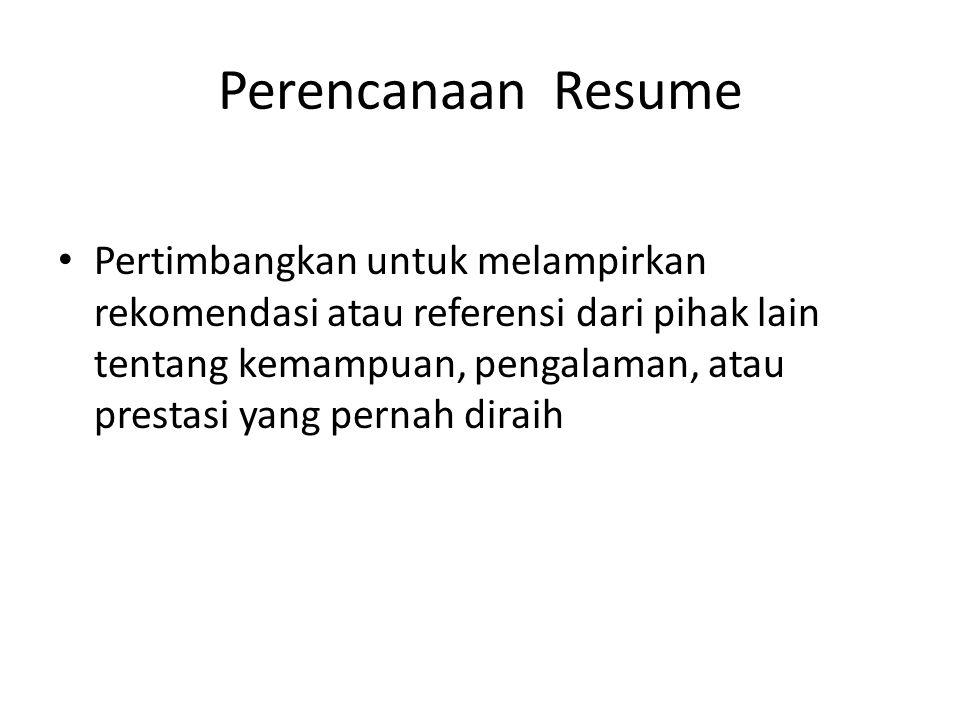 Perencanaan Resume