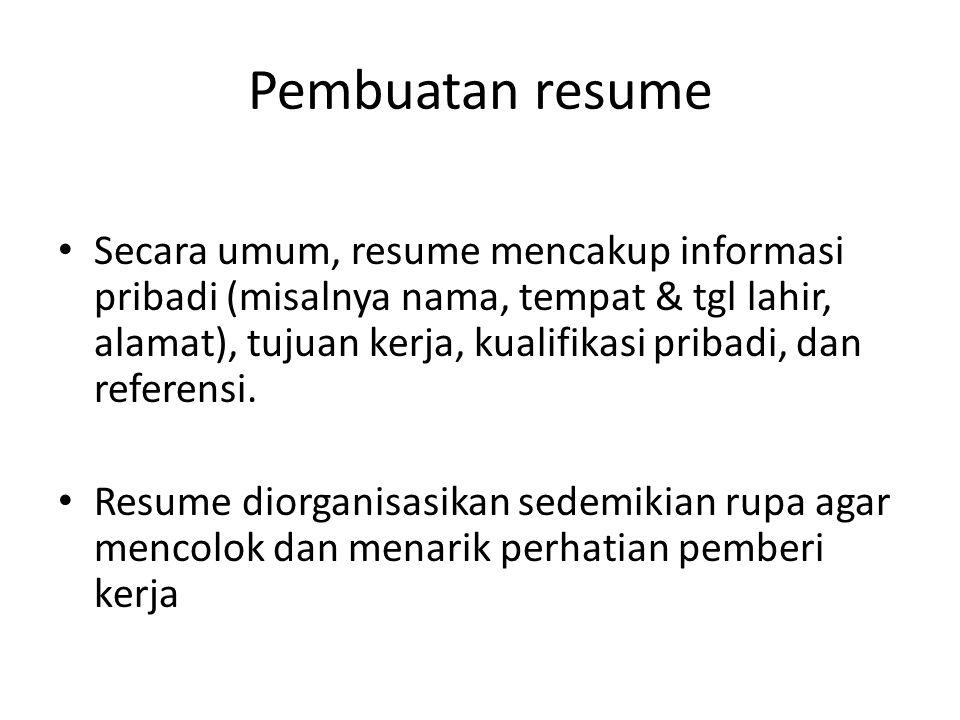 Pembuatan resume