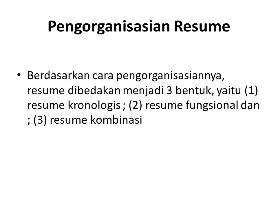 Pengorganisasian Resume