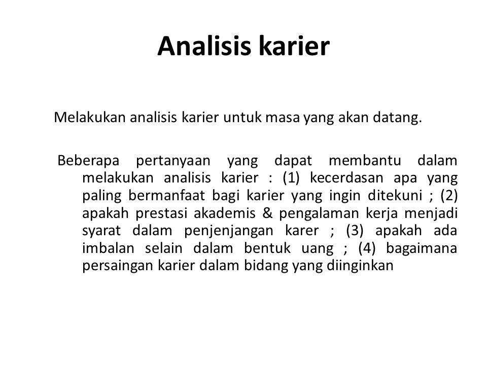 Analisis karier Melakukan analisis karier untuk masa yang akan datang.