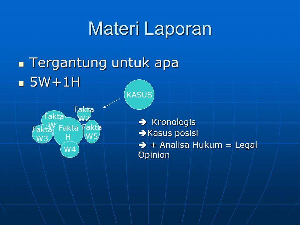 Materi Laporan Tergantung untuk apa 5W+1H  Kronologis Kasus posisi