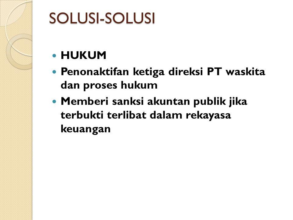SOLUSI-SOLUSI HUKUM. Penonaktifan ketiga direksi PT waskita dan proses hukum.