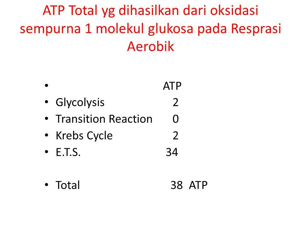 ATP Total yg dihasilkan dari oksidasi sempurna 1 molekul glukosa pada Resprasi Aerobik
