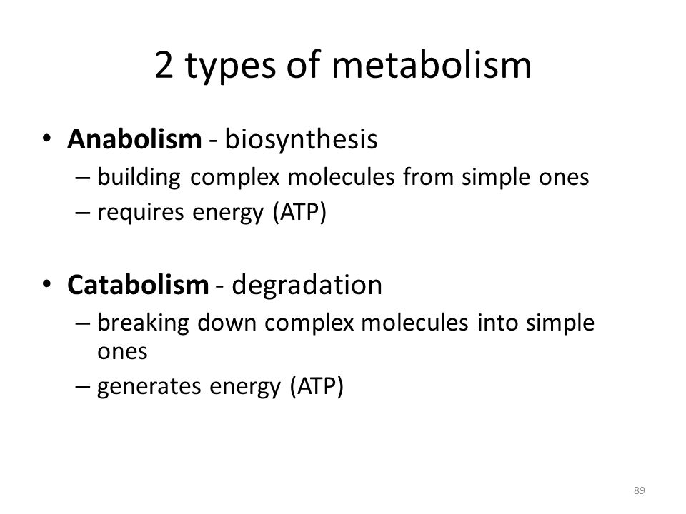 2 types of metabolism Anabolism - biosynthesis