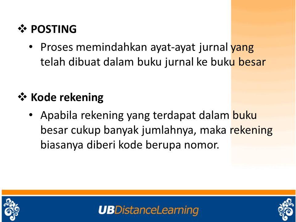 POSTING Proses memindahkan ayat-ayat jurnal yang telah dibuat dalam buku jurnal ke buku besar. Kode rekening.