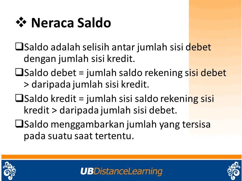 Neraca Saldo Saldo adalah selisih antar jumlah sisi debet dengan jumlah sisi kredit.