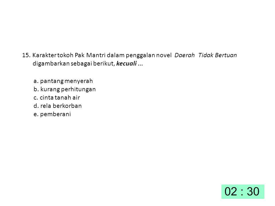 15. Karakter tokoh Pak Mantri dalam penggalan novel Daerah Tidak Bertuan digambarkan sebagai berikut, kecuali ...