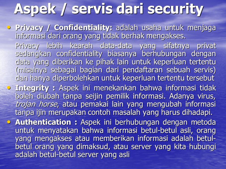 Aspek / servis dari security