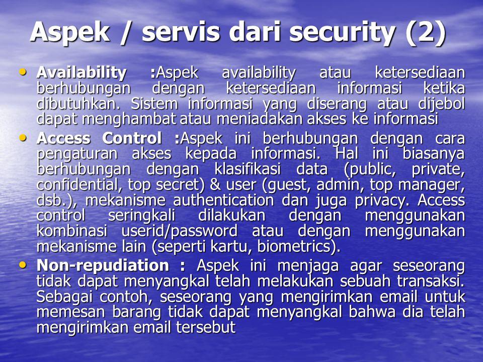Aspek / servis dari security (2)