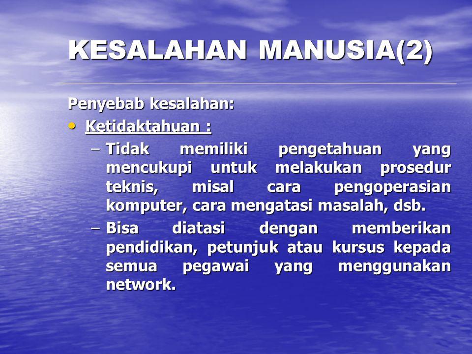 KESALAHAN MANUSIA(2) Penyebab kesalahan: Ketidaktahuan :