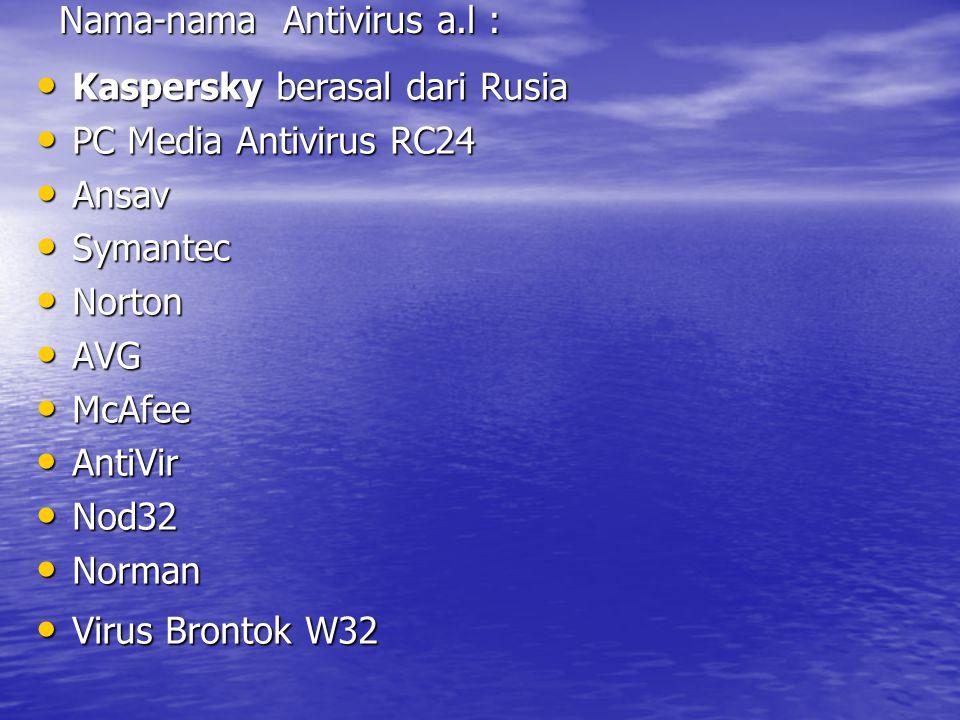 Nama-nama Antivirus a.l :