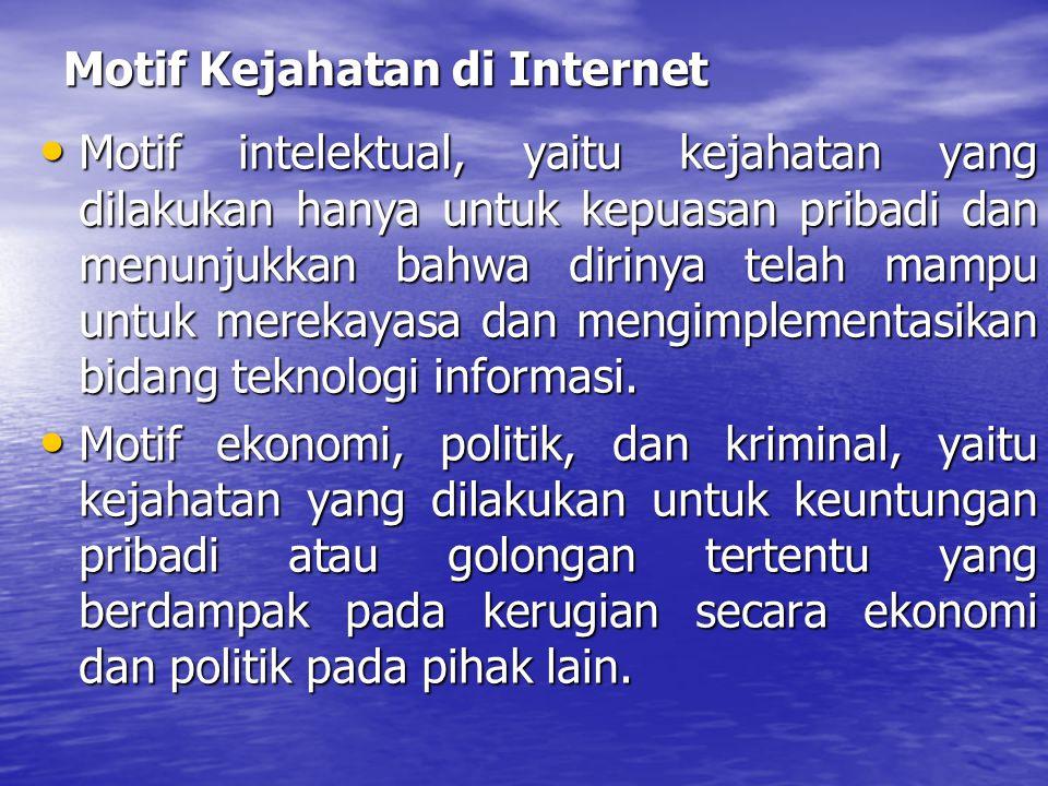 Motif Kejahatan di Internet