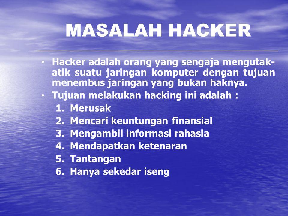 MASALAH HACKER Hacker adalah orang yang sengaja mengutak-atik suatu jaringan komputer dengan tujuan menembus jaringan yang bukan haknya.