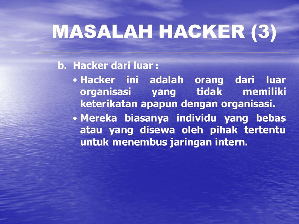 MASALAH HACKER (3) b. Hacker dari luar :