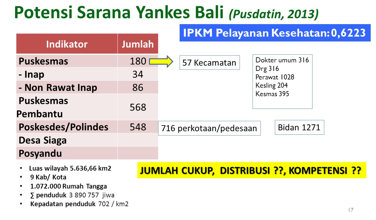 Potensi Sarana Yankes Bali (Pusdatin, 2013)