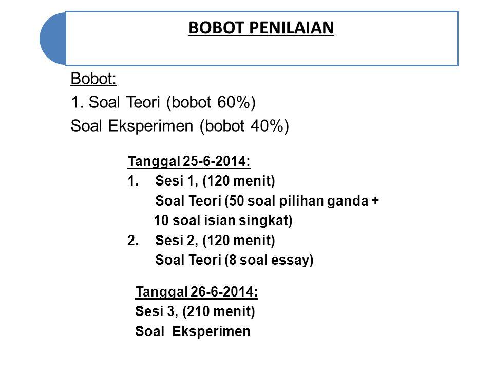 BOBOT PENILAIAN Bobot: 1. Soal Teori (bobot 60%)