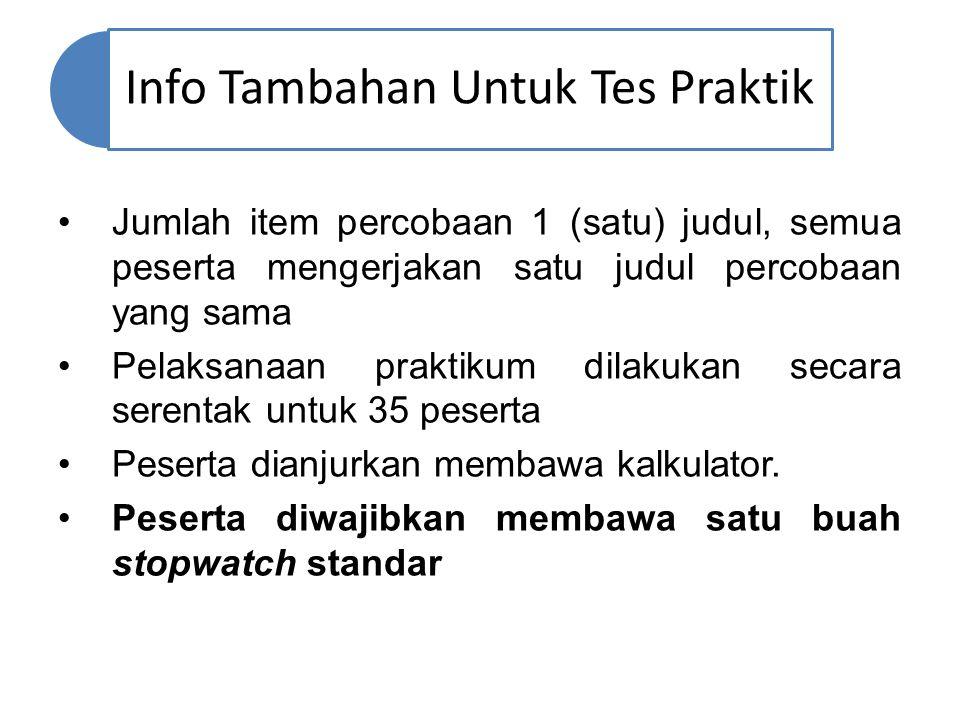 Info Tambahan Untuk Tes Praktik