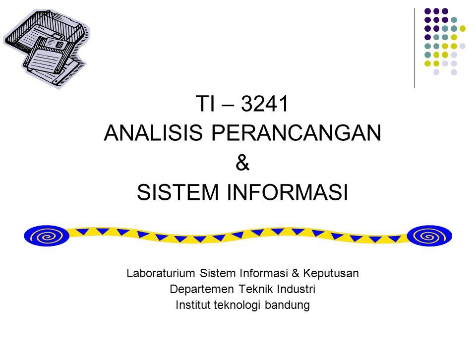 TI – 3241 ANALISIS PERANCANGAN & SISTEM INFORMASI