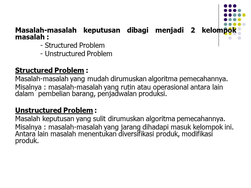 Masalah-masalah keputusan dibagi menjadi 2 kelompok masalah :
