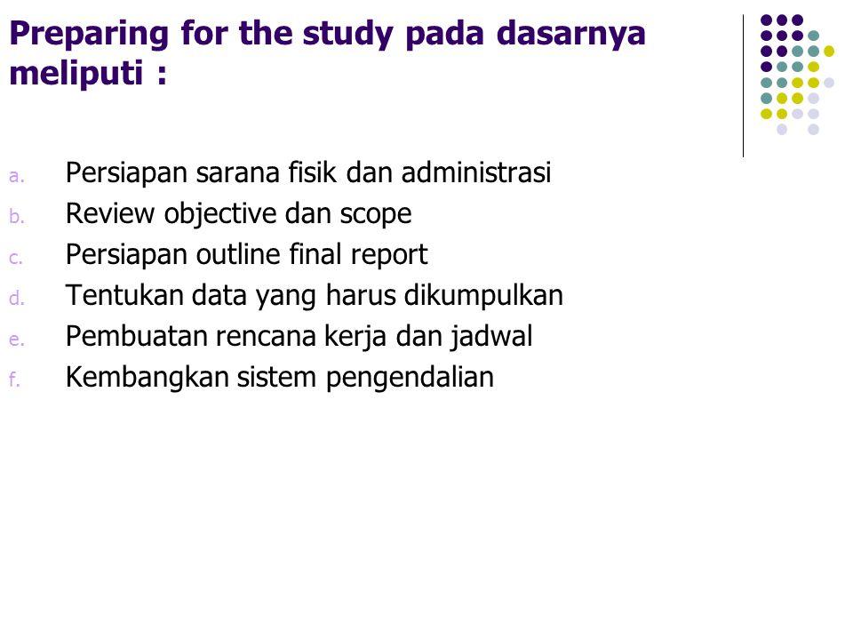 Preparing for the study pada dasarnya meliputi :