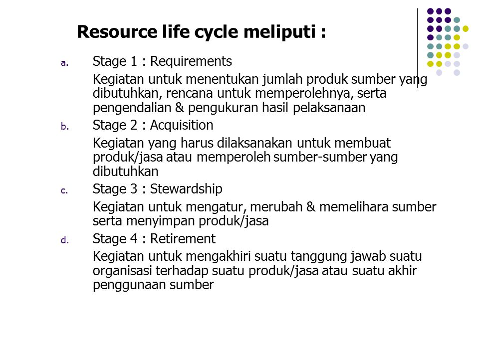 Resource life cycle meliputi :