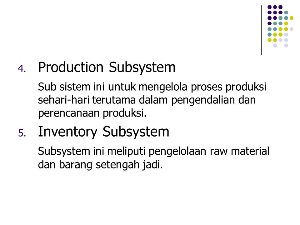 Production Subsystem Inventory Subsystem