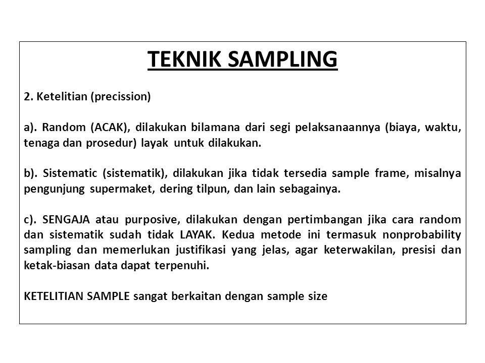 TEKNIK SAMPLING 2. Ketelitian (precission)