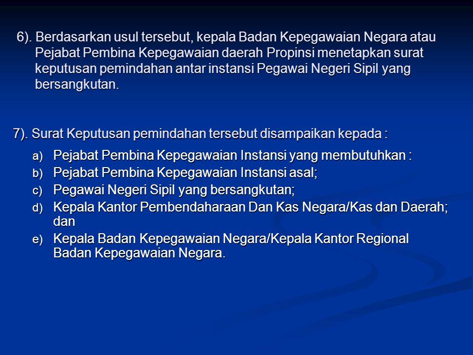 6). Berdasarkan usul tersebut, kepala Badan Kepegawaian Negara atau Pejabat Pembina Kepegawaian daerah Propinsi menetapkan surat keputusan pemindahan antar instansi Pegawai Negeri Sipil yang bersangkutan.