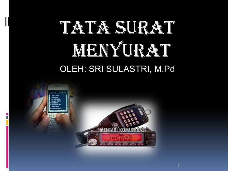 TATA SURAT MENYURAT OLEH: SRI SULASTRI, M.Pd