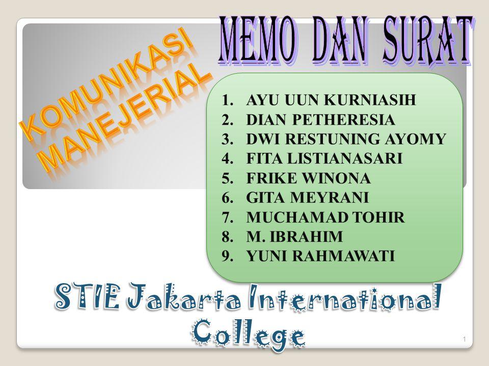 KOMUNIKASI MANEJERIAL STIE Jakarta International College