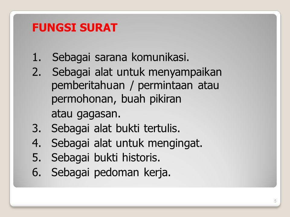 FUNGSI SURAT 1. Sebagai sarana komunikasi. 2