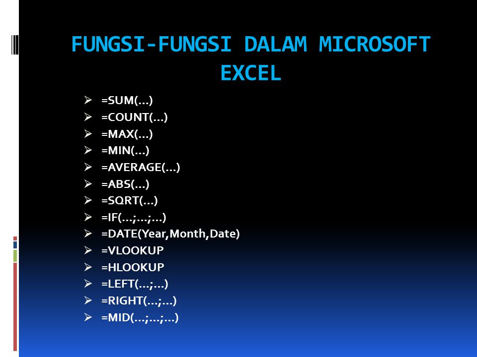 FUNGSI-FUNGSI DALAM MICROSOFT EXCEL