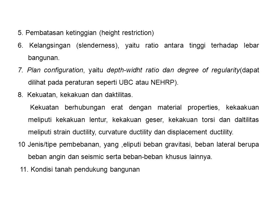 5. Pembatasan ketinggian (height restriction)