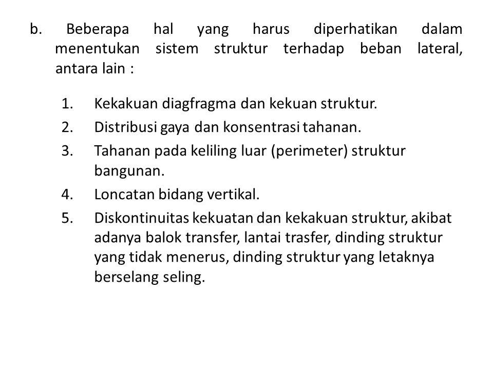 b. Beberapa hal yang harus diperhatikan dalam menentukan sistem struktur terhadap beban lateral, antara lain :