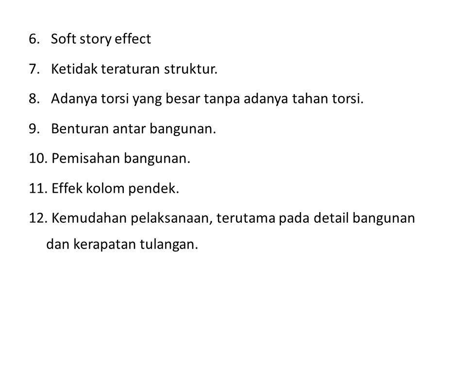 6. Soft story effect 7. Ketidak teraturan struktur. 8