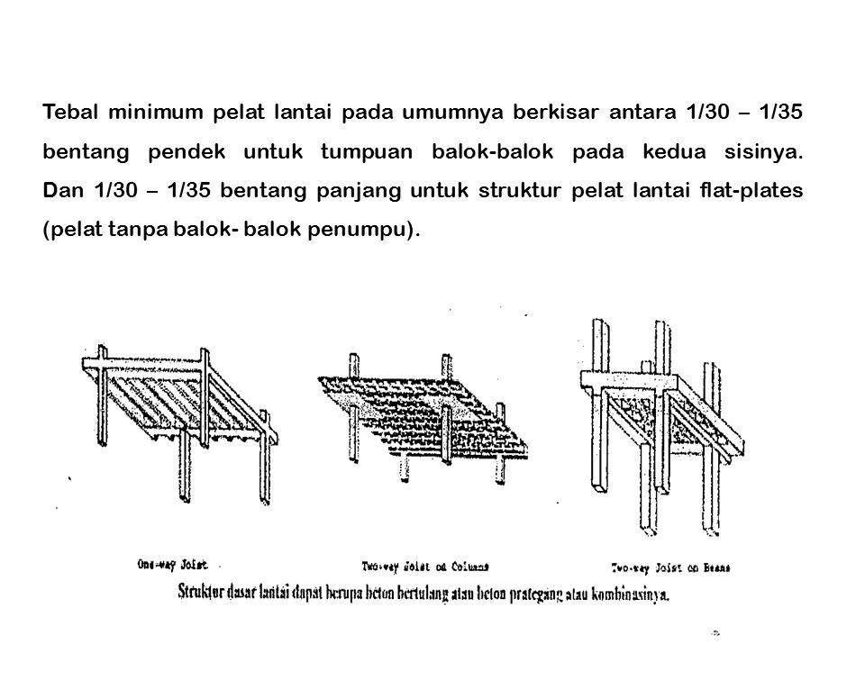 Tebal minimum pelat lantai pada umumnya berkisar antara 1/30 – 1/35 bentang pendek untuk tumpuan balok-balok pada kedua sisinya.