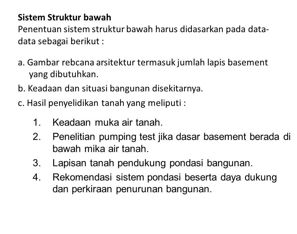 Sistem Struktur bawah Penentuan sistem struktur bawah harus didasarkan pada data-data sebagai berikut :