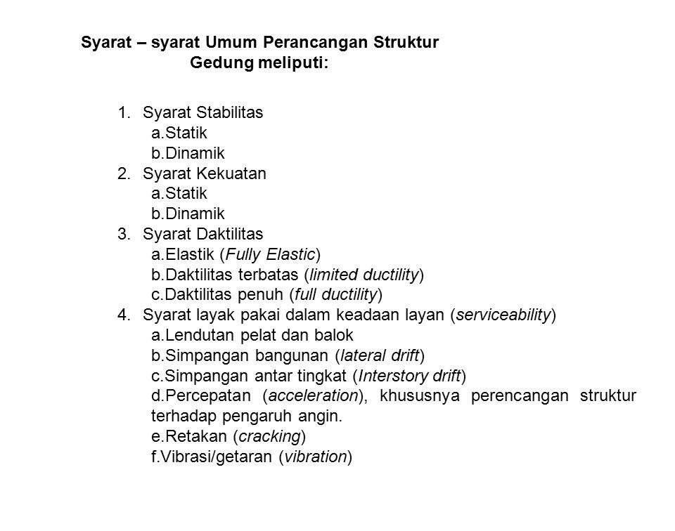Syarat – syarat Umum Perancangan Struktur Gedung meliputi: