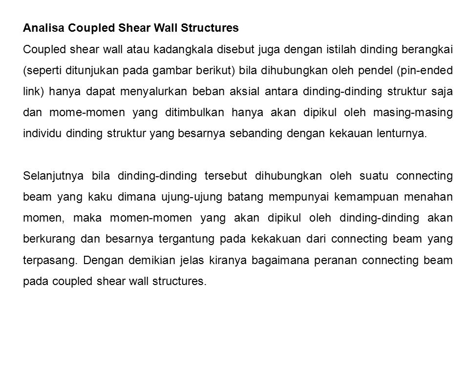 Analisa Coupled Shear Wall Structures